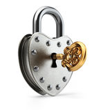 Old padlock with gold key Stock Photo