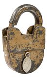 Old padlock isolated on white Royalty Free Stock Photos