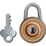 Old Padlock and its key. A brawn trunk padlock and its key. It is usable for success :) Why not Royalty Free Stock Photography