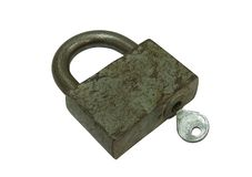 Old padlock with key Royalty Free Stock Photo