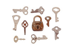 Old padlock and key Stock Photos
