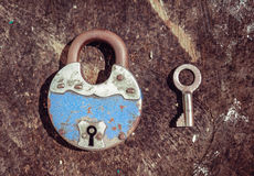 Old padlock and key Stock Image
