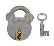 Old padlock and key isolated. Stock Photos
