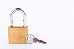 old padlock and key on white background tool isolated Stock Photo
