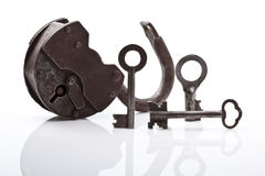Old padlock and keys Royalty Free Stock Photography