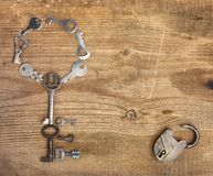 Old padlock and keys Royalty Free Stock Photo