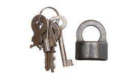 Old padlock and keys Stock Photography