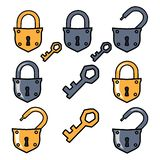 Old padlock and keys. Options padlock. stock illustration