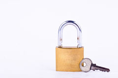Old padlock or master key and key on white background tool isolated Stock Photos
