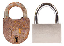 Old padlock and new padlock Royalty Free Stock Photography