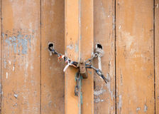 Old padlock on a wooden door. Old padlock on a  wooden  door Royalty Free Stock Photos