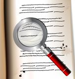 Old page and magnifer. On the old page with the text is the magnifying glass Royalty Free Stock Photography