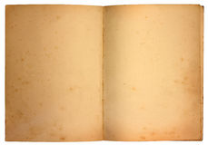 Old Pages. Stained blank pages in old book Stock Photography