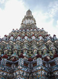 Old pagoda. Angle of elevation of old pagoda in Thai temple Stock Image
