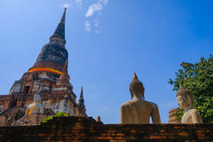 Old pagoda with Blue Sky background at Wat Yai Chai Mongkhon Old Temple in Ayutthaya Historical Park Thailand Stock Image