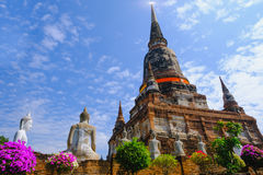 Old pagoda with Blue Sky background at Wat Yai Chai Mongkhon Old Temple in Ayutthaya Historical Park Thailand Royalty Free Stock Photography
