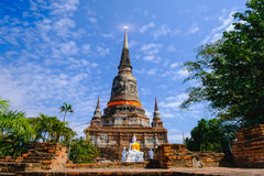 Old pagoda with Blue Sky background at Wat Yai Chai Mongkhon Old Temple in Ayutthaya Historical Park Thailand Stock Photography