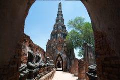 The old  pagoda in frame. At Chai Watthanaram Temple,Ayutthaya,Thailand Royalty Free Stock Photo