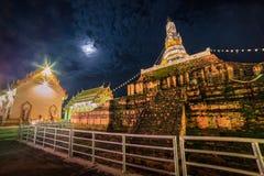 The old pagoda on the full moon night. Stock Photo
