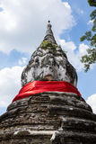 Old pagoda. With red cloth in Thailand Royalty Free Stock Images