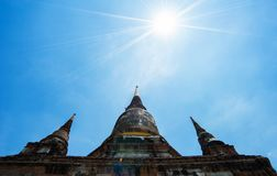 Old pagoda in temple at ayutaya province,Thailand.  Royalty Free Stock Image