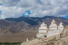 Old pagodas with mountain view at Shey Palace. The Shey Monastery or Gompa and the Shey Palace complex are structures located on a hillock in Shey, 15 Royalty Free Stock Photography