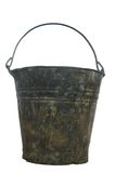 Old pail. Old metal pail on white background Royalty Free Stock Image