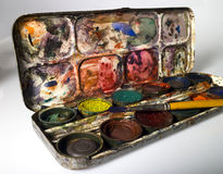 Old paint box Stock Images
