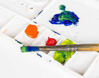 Old paint brush and palette Royalty Free Stock Images
