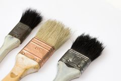 Paint brush with the wooden handle. stock photo