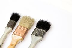 Paint brush with the wooden handle. stock images