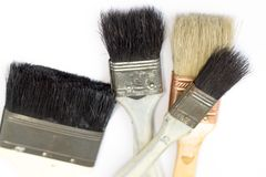 Paint brush with the wooden handle. stock photos