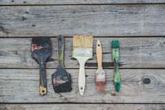 Old paint brushes Stock Images