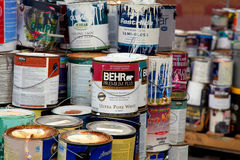 Old paint cans Royalty Free Stock Photography