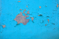 Old paint and cement wall, cracked wall color blue. Texture Royalty Free Stock Photography