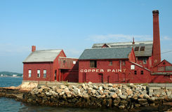 Old Paint Factory. On Rocky Neck, Gloucester, MA, on a summer day stock image