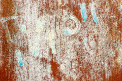 Old paint on rusty metal texture. Grunge chipped paint rusty textured metal background Stock Photography