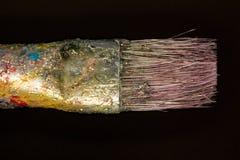 Old paintbrush head extreme close up. Macro photo of old paintbrush head royalty free stock photo