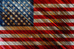Old Painted American Flag. On Dark Wooden Fence Royalty Free Stock Photos