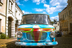 Old painted car in street Royalty Free Stock Images
