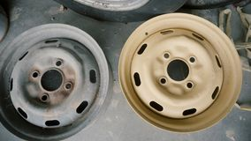 Old and painted car wheel disc.  stock video footage
