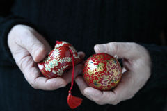 Old painted Christmas ornaments Stock Photography