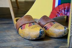 Old painted Dutch wooden clogs stock photos