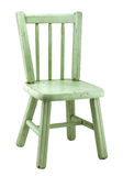 Old Painted Farm Chair. Small antique wood chair with worn green paint isolated on white Stock Image