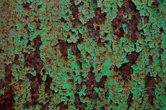 Old painted metal wall texture, grunge background, cracked paint Stock Photos