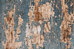 Old painted peeling wooden wall, backround, texture Stock Photo