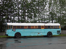 An old painted school bus at valdez. A bus transformed into a home as seen parked in alaska Stock Image