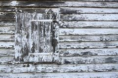 Very old shutter with peeling whote paint stock images