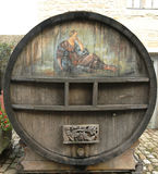 An old painted wine barrel in Chateau de Pommard in France Royalty Free Stock Image