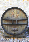 An old painted wine barrel in Chateau de Pommard, France Stock Photos